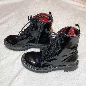 Black Pleather Platform Lace Up Ankle Boots